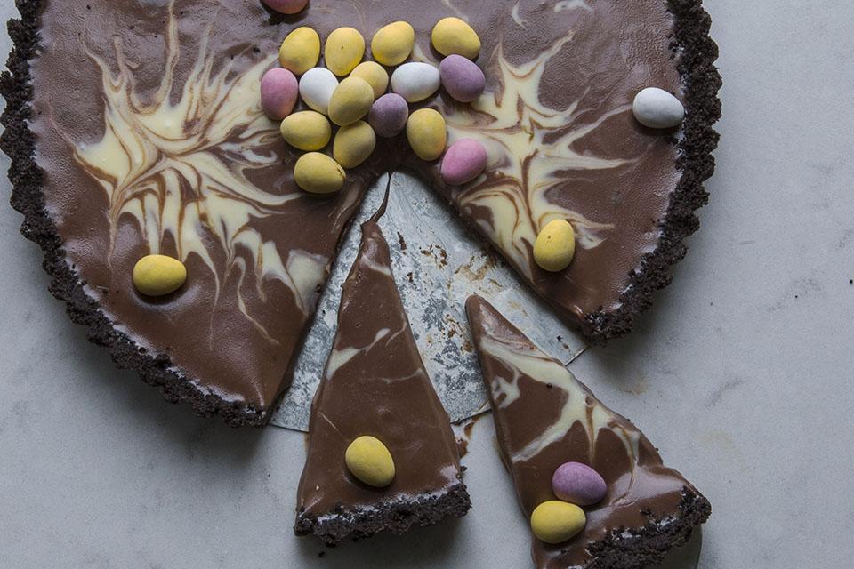 sjokoladeganache terte med oreo, påske,